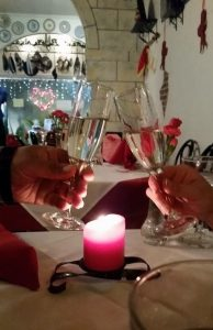 """Salud"" Candle light Cava toasting"
